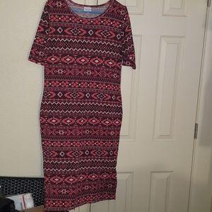 Lularue Size L Julia dress NWOT red sweater print