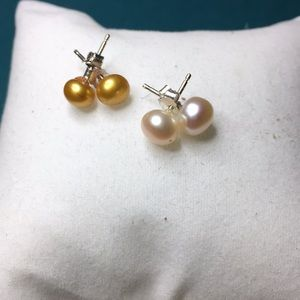 ER24 Genuine Freshwater Pearls on Sterling Silver