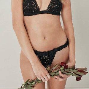 For Love and Lemons Skivvies Sage Lace Thong NWT