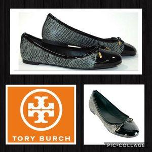 🆕 TORY BURCH Black Python Print Ballet Flats NWT