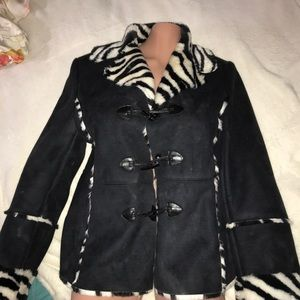 Faux suede and zebra winter jacket
