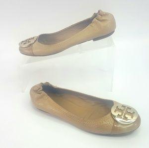 Tory Burch Reva Round Toe Leather Flats Size 6.5