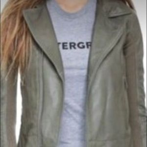 Army green olive drab leather hooded leather coat