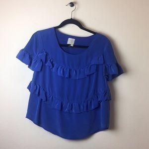 100% silk blue anthropologie ruffle blouse medium