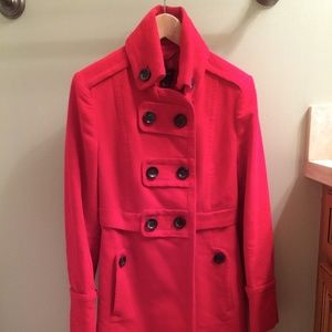 Mango Mng Red Cotton Military Trench Coat Size S