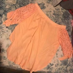 Tops - Coral/orangeish off the shoulder blouse