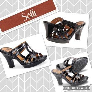 🆕 SOFFT Pascale Black Croco Platform Sandals NWT