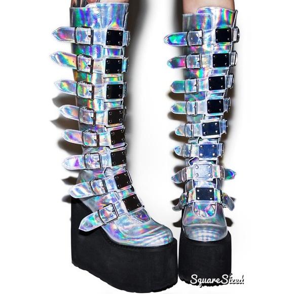 89e0e97ea8 Dolls Kill Shoes - Demonia Hologram Trinity Boots New Dolls Kill 7
