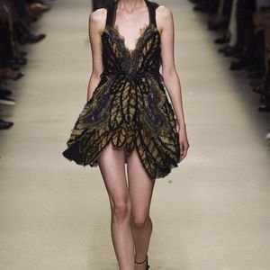 Alberta Ferretti Runway Silk Feather Trapeze Dress