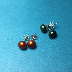 ER24 Freshwater Pearls in Sterling Silver 2pair