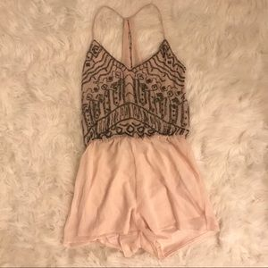ZARA Light Pink Romper with Beaded Embellishments