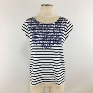 Anthropologie- Meadow Rue Embroidered Navy Stripe