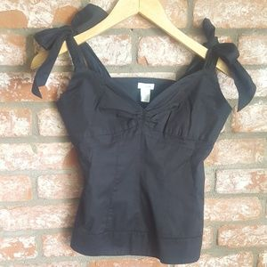 Anthropologie Black bow tank top