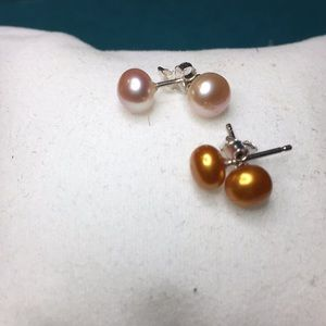 ER24 5mm Freshwater Pearls Sterling Silver 2 pair