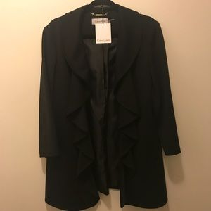 Black Blazer with Ruffle Detail
