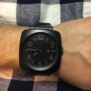 Black leather Nixon watch