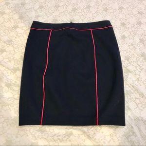 NWT Club Monaco navy pink piping knit skirt Sz 2