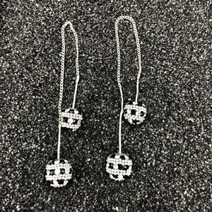Threader Earrings .925 Sterling Silver/crystals