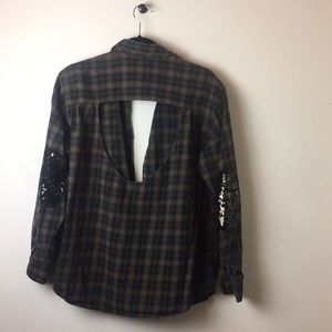 furst of a kind LF upcycled glitter plaid top m/l