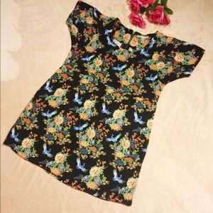 Forever21 Black Floral Dress with Blue Birds