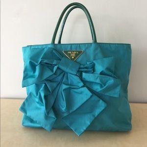 Real Prada nylon bag tote ribbon teal blue logo