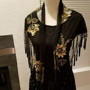 Black and gold embroidered scarf EXQUISITE
