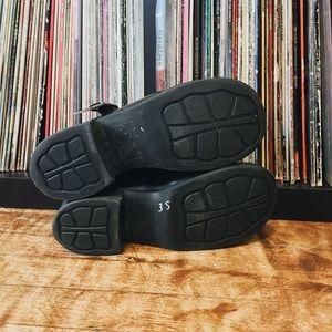 ea1591e5443 Black Patent Chunky Heel Mary Jane T-Strap Shoes 9
