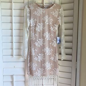 Majorelle fringe lace dress