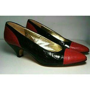 Vintage Walter Steiger Snake Print Leather Heels