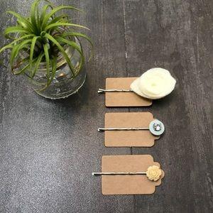 Set of 3 Handmade Hair Pins