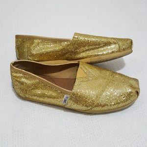 TOMS Gold Glitter Classic Flats - 7.5