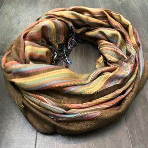 Earth tones striped scarf NWT