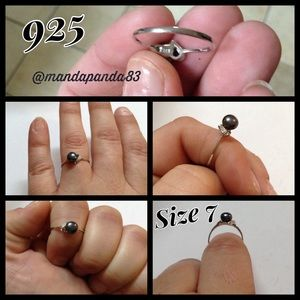 925 SS Gray Pearl Ring