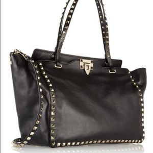 Valentino Rockstud Black Leather Trapeze Handbag