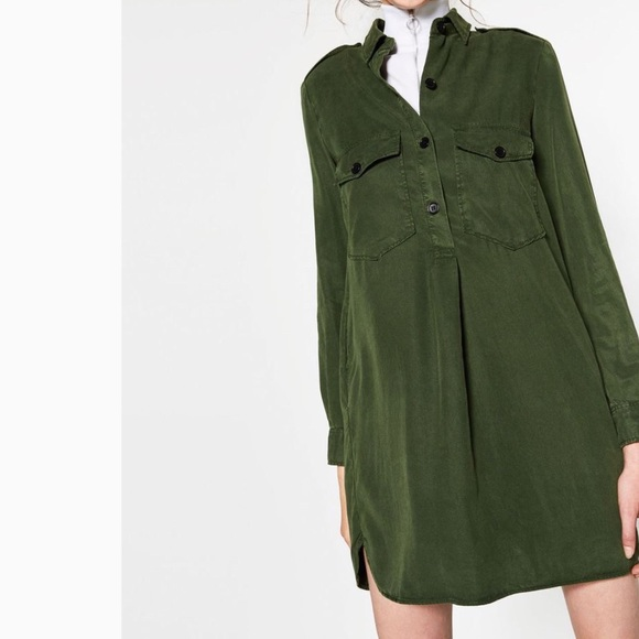 1e22c94e3972 Zara Army Green Shirt Dress. M 5a115fb0b4188e2faa060ee5