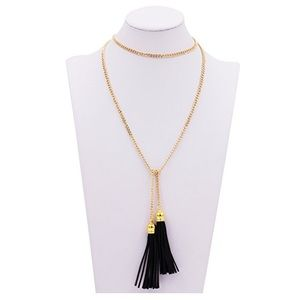 Jewelry - Vintage-Style Long Black Leather Tassel Necklace