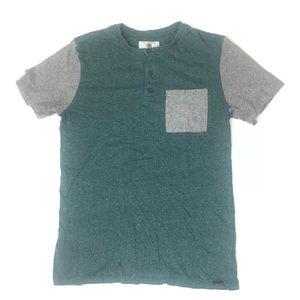 On the Byas Men's T Shirt Teal Gray Pocket Tee EUC