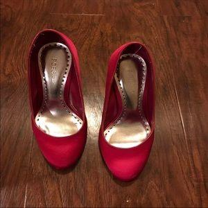 Bcbg hot pink satin silver mirror heels size 8.5