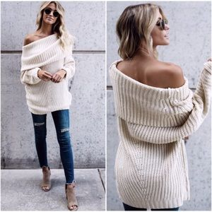 🆕Carrie Fold Over Knit Sweater in Cream