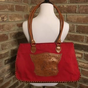 Disney Winnie the Pooh Red Canvas Large Tote