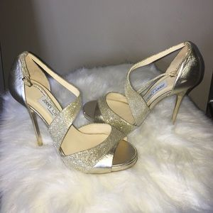 Jimmy Choo gold metallic high heel sandals