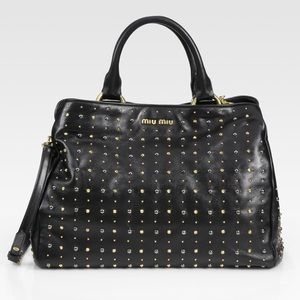 Miu Miu Studded Leather Top Handle Bag