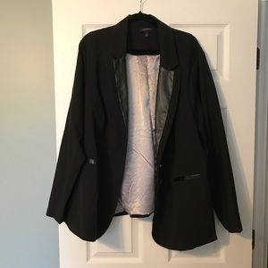 Torrid black blazer with faux leather details