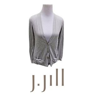J Jill S Gray Cardigan Sweater Button Front Solid