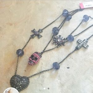 Betsey Johnson Pink Skull Layered Necklace