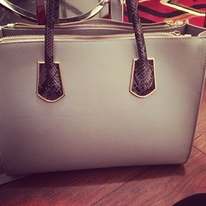 Greyish blue tote with gold detailing