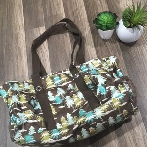 Thirty one Holiday tree print tote bag