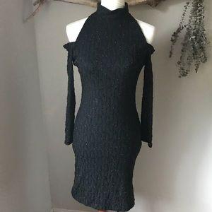 Vintage Cold Shoulder Black Shimmer Dress