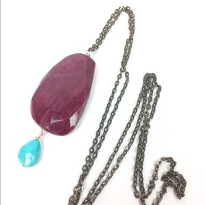 GENUINE RUBY TURQUOISE mixed metals long necklace