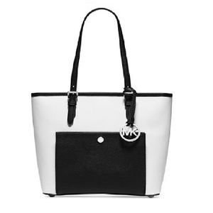 Michael Kors Jet Set Medium Snap Black, White